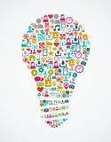 Social Media-Ikonen lokalisierten Glühlampe EPS10 der Idee  Lizenzfreie Stockfotografie