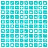 100 Social Media-Ikonen stellten Schmutz blau ein Stockbilder