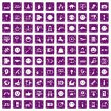 100 Social Media-Ikonen stellten Schmutz purpurrot ein Stockfoto