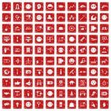 100 Social Media-Ikonen stellten Schmutz rot ein Lizenzfreie Stockbilder