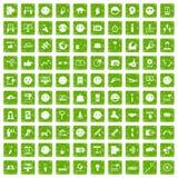 100 Social Media-Ikonen stellten Schmutzgrün ein Stockbild
