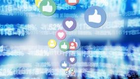 Social Media-Ikonen und wirtschaftliche Werte lizenzfreie abbildung