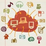 Social media illustration in doodle style Royalty Free Stock Image