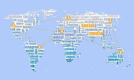 Social media illustration, icons on world map tagcloud Stock Images