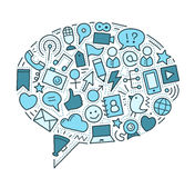 Social Media Illustration. Social media related objects forming a large speech bubble. File format is EPS8 Royalty Free Stock Photo