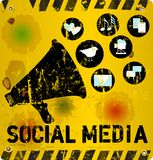 Social media illustration. Social media sign vector illustration, grungy style Royalty Free Stock Photo
