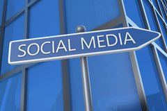 Social Media. Illustration with street sign in front of office building Stock Photos