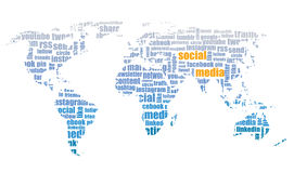 Social media illustration, world map tagcloud Royalty Free Stock Photo