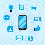 Social Media For Increase Marketing Flat Design Concept With Blue Atmosphere stock illustration