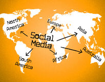 Social Media Indicates World Wide Web And Blogging. Social Media Representing World Wide Web And Website Stock Image