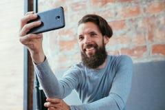 Social media influencer blog selfie mobile photo. Social media influencer or blogger taking a selfie. mobile photography royalty free stock images
