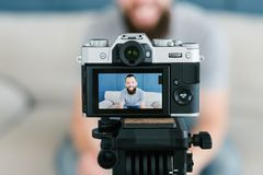 Social media influencer man shoot video technology royalty free stock photos