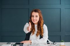 Social media influencer business online branding. Social media influencer welcoming hand. Business expertise. Online branding service. Professional attitude stock photo