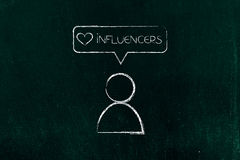 Social media Influencers` follower with Like icon. Loving influencers concept: social media follower with Like icon Stock Photography