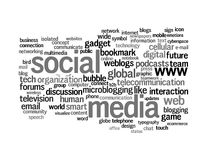 Social media info-text graphics word clouds. Social media info-text graphics and arrangement concept on white background (word clouds Stock Image