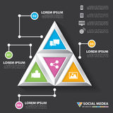 Social media infographic. Abstract 3D digital modern triangle social media infographic can be used for workflow layout, diagram, options, web design, brochure royalty free illustration