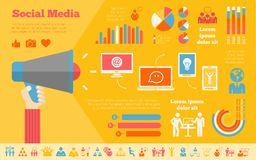 Social Media Infographic Template. Stock Photography