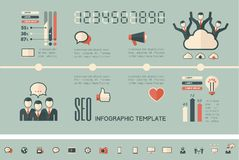 Social Media Infographic Template. Royalty Free Stock Photos