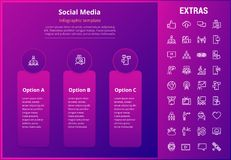 Social media infographic template, elements, icons. Social media options infographic template, elements and icons. Infograph includes line icon set with tv set Stock Image