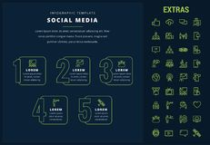 Social media infographic template, elements, icons. Social media options infographic template, elements and icons. Infograph includes line icon set with tv set Stock Photography