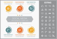 Social media infographic template, elements, icons. Social media infographic template, elements and icons. Infograph includes customizable graphs, charts, line Royalty Free Stock Images