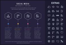 Social media infographic template, elements, icons. Social media options infographic template, elements and icons. Infograph includes line icon set with tv set Royalty Free Stock Photos