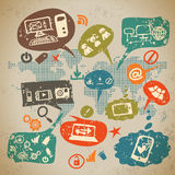 Social media infographics set with communication Royalty Free Stock Photography