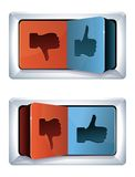 Social media internet concept. Trigger with like and dislike sign Stock Image