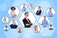 Social media and internet concept - portraits of business people Royalty Free Stock Image