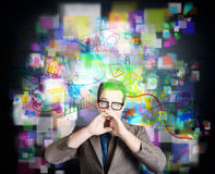 Social media internet man with marketing message Royalty Free Stock Image