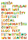 Social media in the internet - words, tags Royalty Free Stock Images