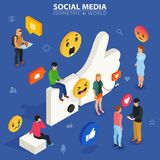 Social media isometric concept. Young people communicate with each other.. I like it concept illustration of young people using mobile gadgets such as laptop Stock Photos