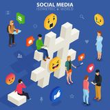 Social media isometric concept. Young people communicate with each other. Stock Images
