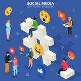Social media isometric concept. Young people communicate with each other. Social networking and blogging. Stock Photo