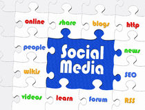 Social media jigsaw. Completed social media jigsaw with associated words on individual pieces royalty free illustration