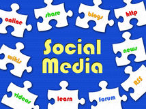 Social Media jigsaw puzzle. Illustration of jigsaw puzzle pieces with contemporary internet-related words and Social Media in the middle. Blue background royalty free illustration