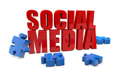 Social Media with jigsaw puzzle. Red Social Media with blue jigsaw puzzle pieces Stock Photography