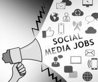 Social Media-Jobs, die on-line-Illustration der freien Stellen 3d darstellen lizenzfreie abbildung