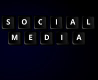 Social media keys concept. Social media concept. Black computer keyboard buttons with white text Royalty Free Stock Photography