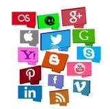 Social Media-Knöpfe/-aufkleber/-ikonen Stockfotos