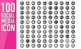 100 Social Media-Knopf Stockbild