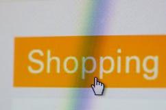 Social Media-Knopf mit dem Aufschrifteinkaufen Lizenzfreie Stockbilder