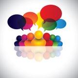 Social Media-Kommunikation oder Büropersonalsitzung lizenzfreie abbildung