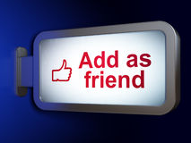 Social Media-Konzept: Fügen Sie als Freund hinzu und mögen Sie auf Anschlagtafel backgr Lizenzfreies Stockfoto