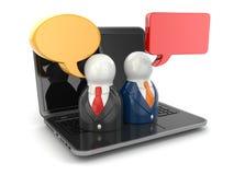 Social Media-Konzept. Leute auf Laptoptastatur. vektor abbildung