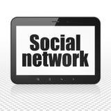 Social Media-Konzept: Tablet-Computer mit Sozialem Netz auf Anzeige vektor abbildung