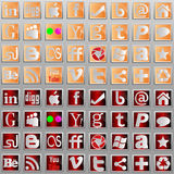 Social media l icons. Badge   Button  Facebook  Plus  Wordpress  Digg   Blogger  Rss  Social  Behance  Yahoo Royalty Free Stock Image