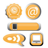 Social media labels. Abstract orange labels of social media on white background stock illustration