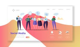 Social Media Landing Page Template. Website Layout with Flat People Characters Communicating. Easy to Edit royalty free illustration