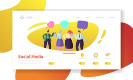 Social Media Landing Page Template. Website Layout with Flat People Characters Communicating. Easy to Edit and Customize. Mobile Web Site. Vector illustration stock illustration